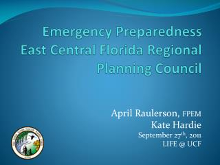 Emergency Preparedness  East Central Florida Regional Planning Council