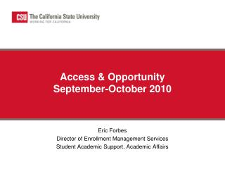 Access & Opportunity September-October 2010