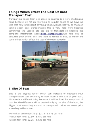 Calculate Your Overall Boat Transportation Cost