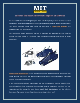 Look for the Best Cable Puller Suppliers at Mithoist