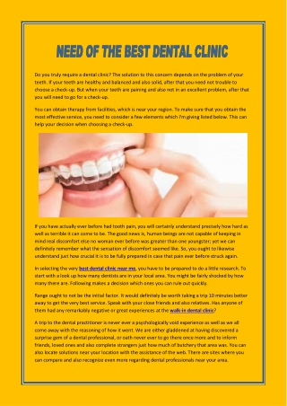 NEED OF THE BEST DENTAL CLINIC