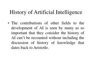 History of Artificial Intelligence