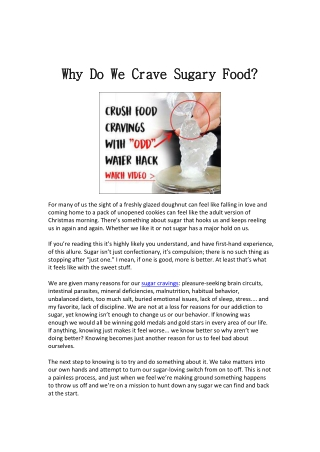 Why Do We Crave Sugary Food?