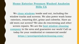 Home Exterior Pressure Washed Anaheim Hills CA