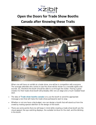 Open the Doors for Trade Show Booths Canada after Knowing these Traits