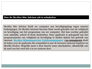 Hoe de McAfee Site Advisor uit te schakelen