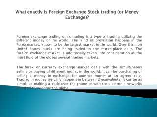 What exactly is Foreign Exchange Stock trading (