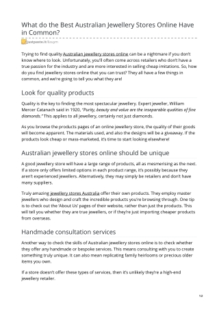 What do the Best Australian Jewellery Stores Online Have in Common?