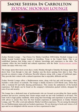 Smoke Shisha In Carrollton – Zodiac Hookah Lounge