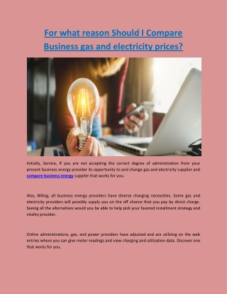 For what reason Should I Compare Business gas and electricity prices?