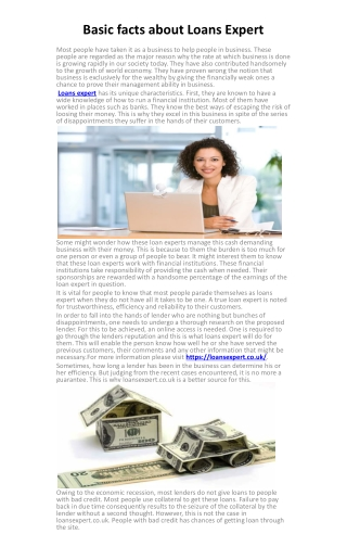 Basic facts about Loans Expert