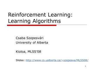 Reinforcement Learning : Learning Algorithms