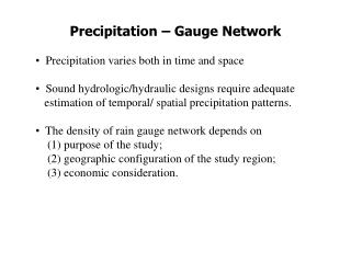 Precipitation – Gauge Network