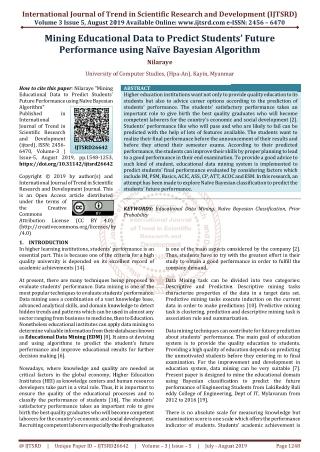 Mining Educational Data to Predict Students' Future Performance using Naïve Bayesian Algorithm