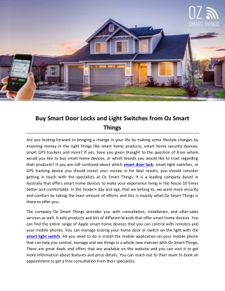 Buy Smart Door Locks and Light Switches from Oz Smart Things