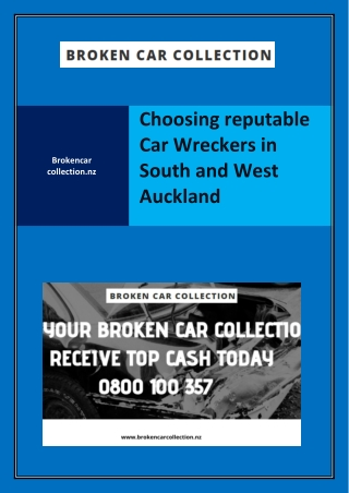 Choosing reputable Car Wreckers in South and West Auckland
