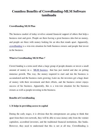 Countless Benefits of Crowdfunding-MLM software tamilnadu