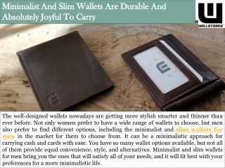 Minimalist And Slim Wallets Are Durable And Absolutely Joyful To Carry