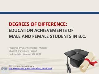 degrees of difference: education achievements of  male and female students in  b.c .