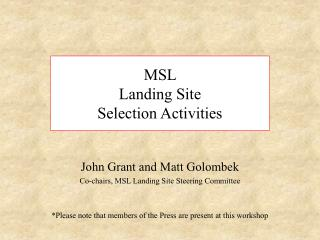 MSL  Landing Site  Selection Activities