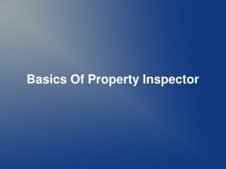 Basics Of Property Inspector