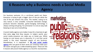 6 Reasons why a Business needs a Social Media Agency