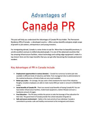 Advantages of Canada PR