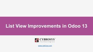 List View Improvements in Odoo 13