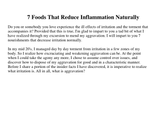 7 Foods That Reduce Inflammation Naturally