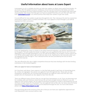 Useful Information about loans at Loans Expert