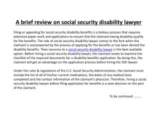 A brief review on social security disability lawyer