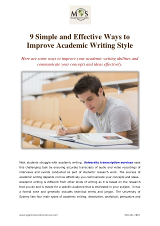 9 Simple and Effective Ways to Improve Academic Writing Style