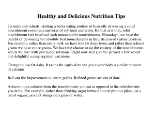 Healthy and Delicious Nutrition Tips