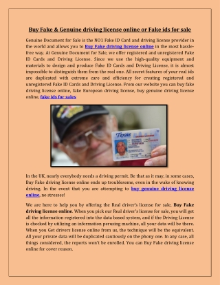 Buy Fake & Genuine driving license online or Fake ids for sale