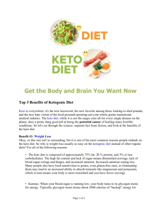 Top 3 Benefits of Ketogenic Diet - Get the Body and Brain You Want Now