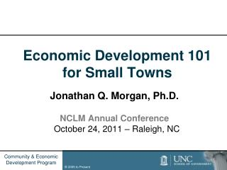 Economic Development 101 for Small Towns