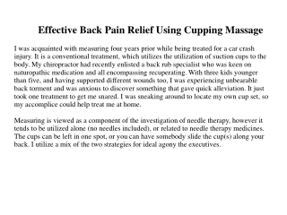 Effective Back Pain Relief Using Cupping Massage