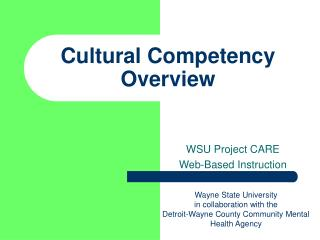 Cultural Competency Overview