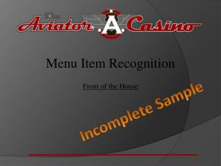 Menu Item Recognition Front of the House