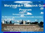 Maryland 4-H Livestock Quality Assurance Program