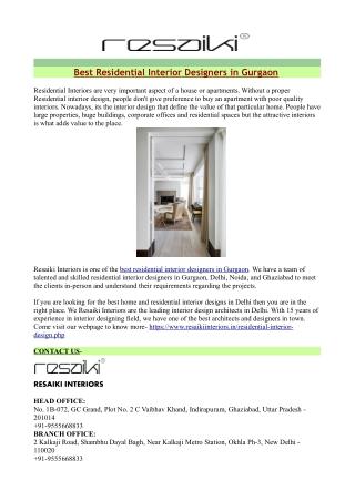 Best Residential Interior Designers in Gurgaon