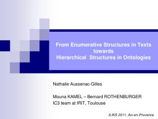 From Enumerative Structures in Texts  towards Hierarchical  Structures in Ontologies