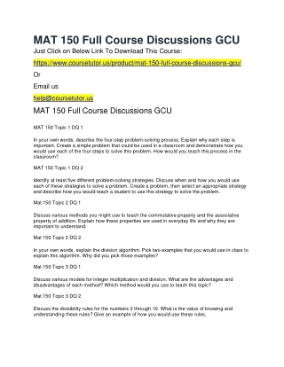 MAT 150 Full Course Discussions GCU