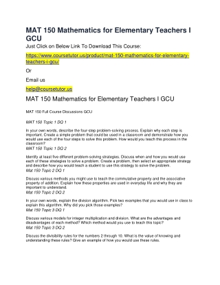 MAT 150 Mathematics for Elementary Teachers I GCU