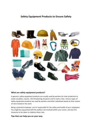Safety Equipment Products to Ensure Safety