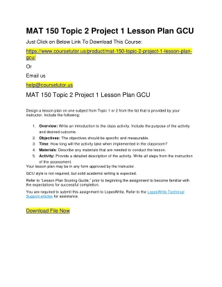 MAT 150 Topic 2 Project 1 Lesson Plan GCU