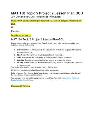 MAT 150 Topic 5 Project 2 Lesson Plan GCU