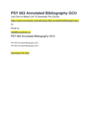 PSY 663 Annotated Bibliography GCU