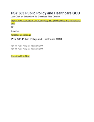 PSY 663 Public Policy and Healthcare GCU