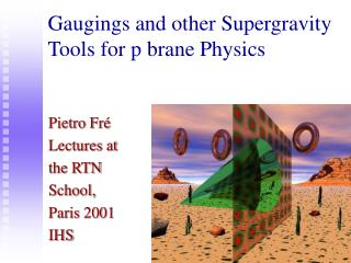 Gaugings and other Supergravity Tools for p brane Physics